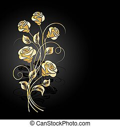 Gold roses with shadow on dark background.