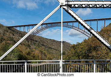 Old and New River Gorge Bridges in West Virginia - Old...