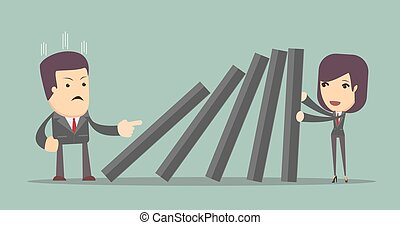Business woman pushing hard against falling deck of domino tiles.