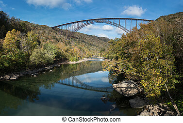 New River Gorge Bridge in West Virginia - Reflections in the...