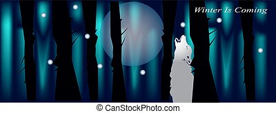 Banner for facebook cover with night forest wolf and moon