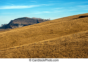 Plateau of Lessinia in Italian Alps - Brown pastures in...