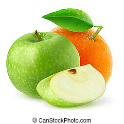 Isolated apple and orange - Isolated fruits. Green apple and...