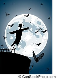 Vector scarecrow with full moon