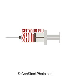 Get your flu shot. Vaccine sign. Health concept.
