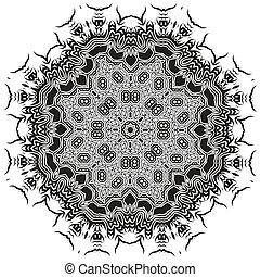 Ornamental Mandala Silhouete Isolated on White Background