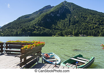 Lake of Alleghe - Classic view of the Lake of Alleghe with...