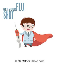 Get your flu shot. Vaccine sign. Health concept....