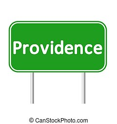 Providence green road sign isolated on white background
