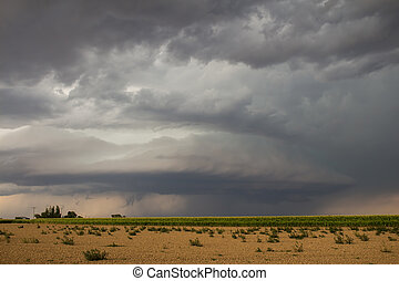 Eerie storm over Colorado farmland - A supercell...