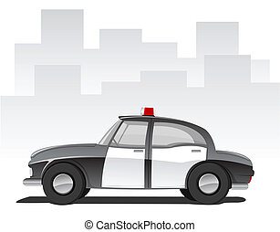 Vector cartoon police car - Vector illustration of cartoon...
