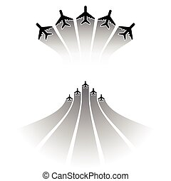 Airplane silhouettes sets