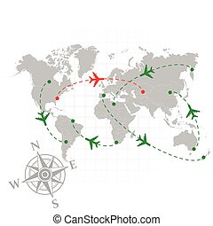 Different color airplanes - Gray silhouette of world map...