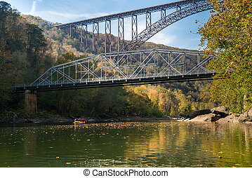 Rafters at the New River Gorge Bridge in West Virginia