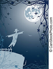 Vector illustration of scarecrow with moon and blue sky