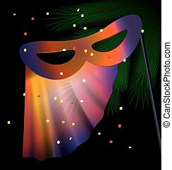 festive half mask - dark festive background and a carnival...