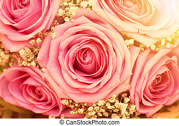 Bouquet of pink roses - Bouquet of fresh pink roses in the...