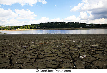 Dried water dam - Dried and cracked soil near dam in Brno,...