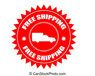 Free shipping stickers - Red stiker with car shape and the...