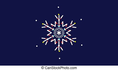 Animated snowflakes,text - Animated snowflakes on a blue...