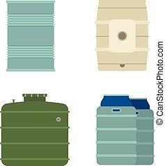 Barrel capacity tanks vector - Container liquid cask storage...