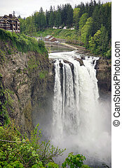 Snoqualmie Falls River Washington Waterfall Powerhouse - A...
