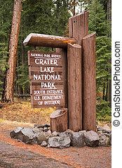 Crater Lake National Park Entrance Sign Oregon State