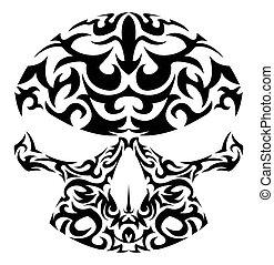 Vector illustration of tribal skull