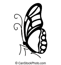 Contour butterfly icon, simple style - Contour butterfly...