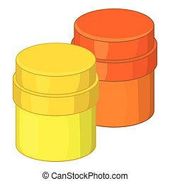 Paint cans icon, cartoon style