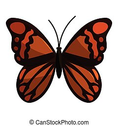Brown butterfly icon, cartoon style - Brown butterfly icon....