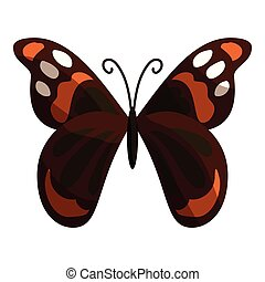 Multicolored butterfly icon, cartoon style - Multicolored...