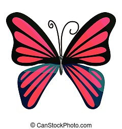 Pink butterfly icon, cartoon style - Pink butterfly icon....
