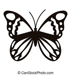 Black butterfly icon, simple style - Black butterfly icon....