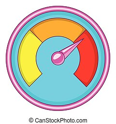 Speedometer for car icon, cartoon style