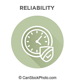 Reliability - Punctuality or Reliability Icon with clock and...