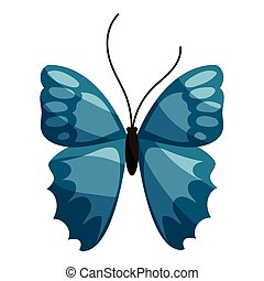 Blue butterfly icon, cartoon style - Blue butterfly icon....