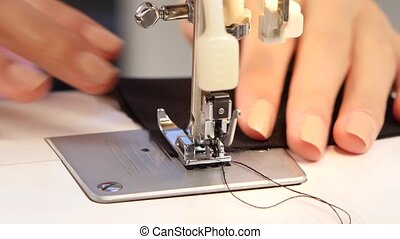 Sew stitch on the sewing machine. Close up - Sew stitch on...