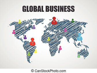 map of the world, business background, vector illustration