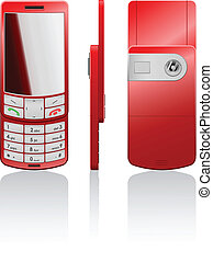 Vector illustration of a red phone