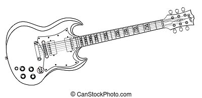 Solid Guitar Line Drawing