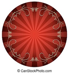 red background with gold curly frame - vector