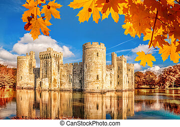 Historic Bodiam Castle in East Sussex, England - Historic...