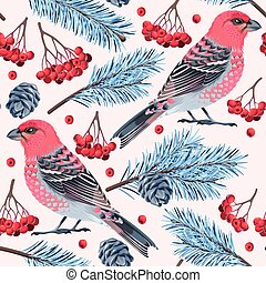 Seamless birds and spruce