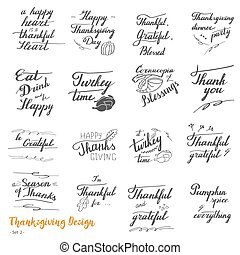 Thanksgiving hand lettering and calligraphy design - Big set...