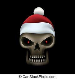 Skull in santa cap