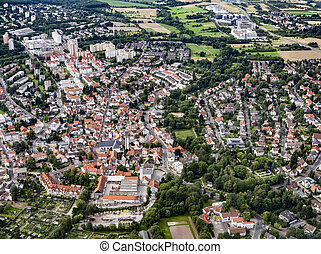aerial view of the town Schwalbach am Taunus, Germany
