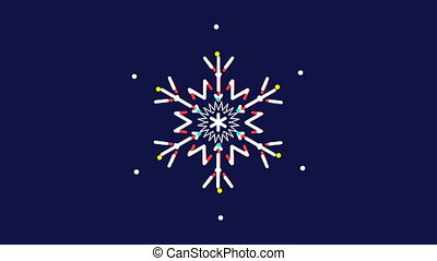 Animated snowflakes on a blue background, dynamically...