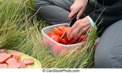 Woman cutting red tomatoes during a picnic in nature - Woman...