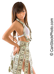 Im bank myself - Young Japanese woman clothed in money...